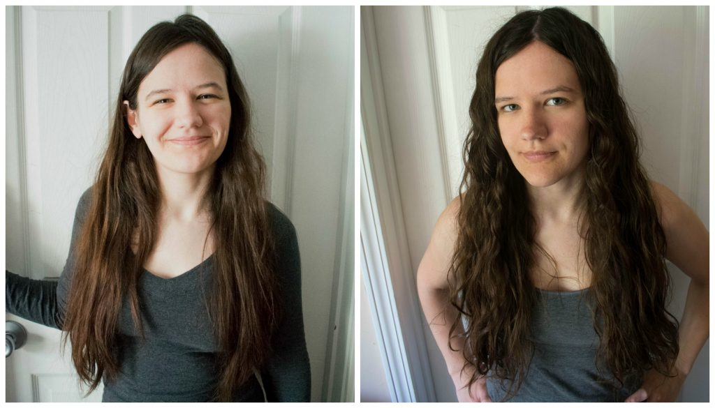 Curly girl method before and after results wavy hair 2a 2b 2c