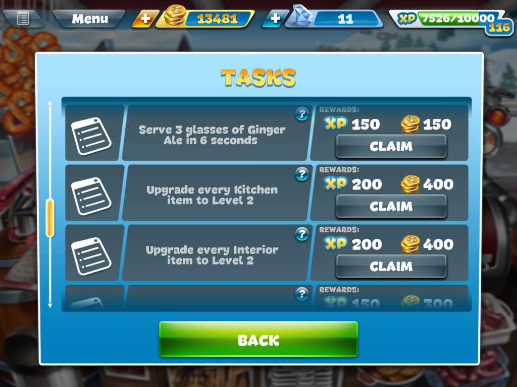 Cooking fever tasks