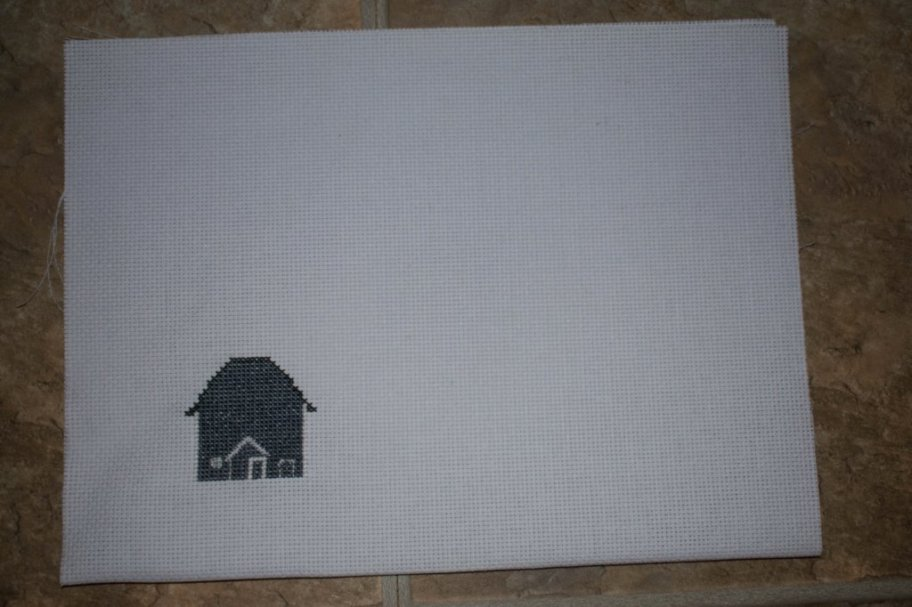 Custom farm cross stitch in memory gift